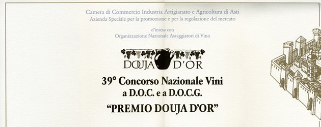 """""""Douja D'Or award"""", 39th national D.O.C. and D.O.C.G. wine competition."""